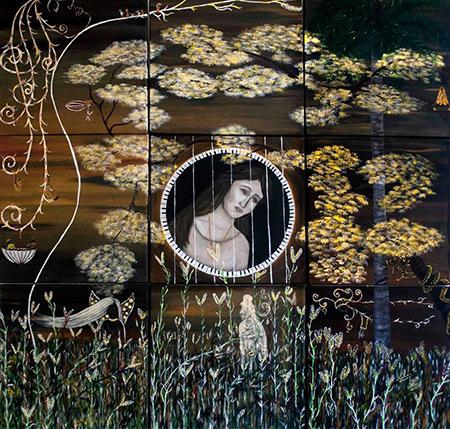 Portada del disco «Flor oculta de la vieja trova»José María Vitier y Pablo Milanés, obra de Silvia Rodríguez Rivero.
