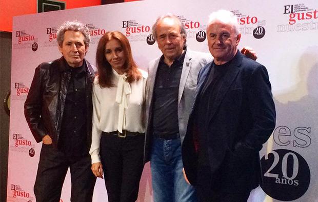 Miguel Ríos, Ana Belén, Joan Manuel Serrat y Víctor Manuel en la conferencia de prensa.