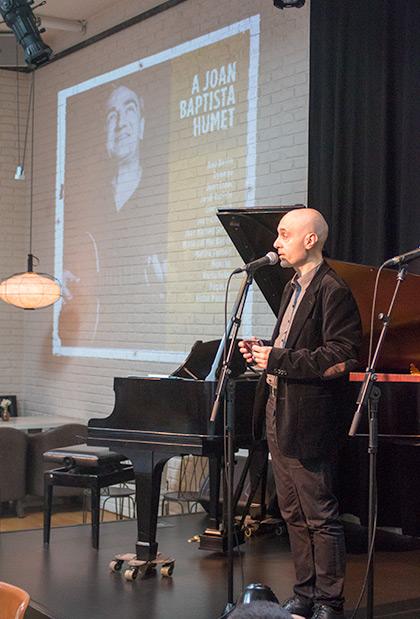 Lluís Marrassé, impulsor del proyecto, en la presentación de prensa de «A Joan Baptista Humet». © Xavier Pintanel