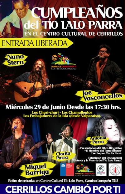 Músicos chilenos celebran el 98 cumpleaños del Tío Lalo Parra.