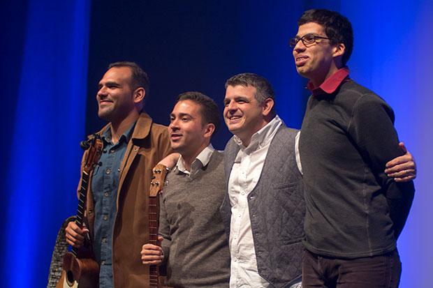 De izquierda a derecha: Jorge Glem, Edward Ramírez, Héctor Molina y Gustavo Márquez. © Xavier Pintanel