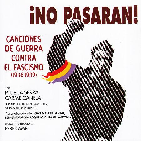 Portada del disco «¡No pasarán! Canciones de guerra contra el fascismo» de Francesc Pi de la Serra y Carme Canela.