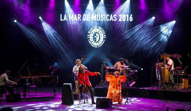 Omara Portuondo y Diego El Cigala en el Festival La Mar de Músicas de Cartagena el pasado martes, 19 de Julio de 2016.