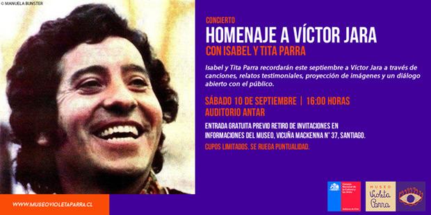 Homenaje de Isabel y Tita Parra a Víctor Jara en el museo Violeta Parra.