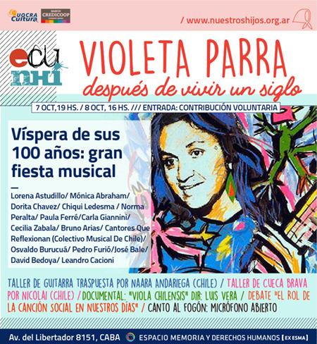 «Violeta Parra después de vivir un siglo»: Músicos argentinos recordarán a Violeta Parra.