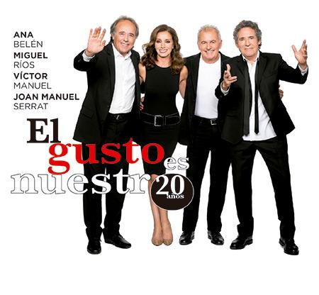 Portada del disco «El gusto es nuestro 20 años» de Ana Belén, Joan Manuel Serrat, Miguel Ríos y Víctor Manuel.