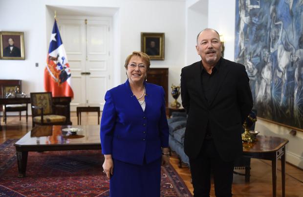 Michelle Bachelet recibe a Rubén Blades. © Presidencia Gobierno de Chile