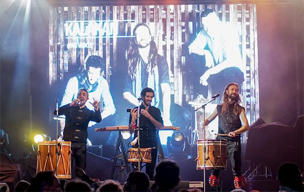 El terceto de percusión y canto vasco Kalakan en su presentación en el EXIB de Évora (Portugal) el pasado mes de mayo. © Xavier Pintanel