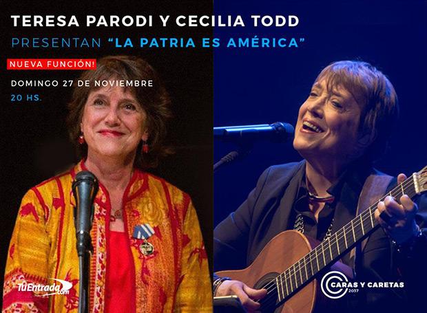 Cecilia Todd y Teresa Parodi juntas en Argentina con «La Patria es América».
