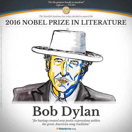 Bob Dylan Nobel de Literatura 2016.