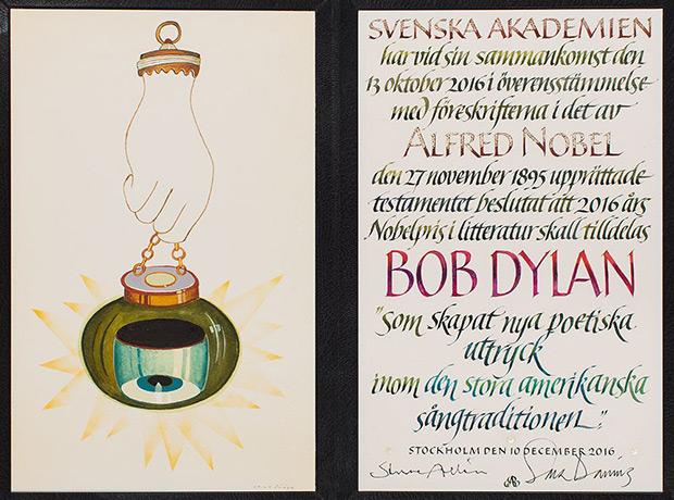 Diploma del Premio Nobel de Literatura para Bob Dylan.