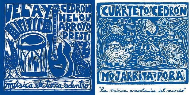 Portadas de los discos «Velay» y «Mojarrita porá» del Cuarteto Cedrón.