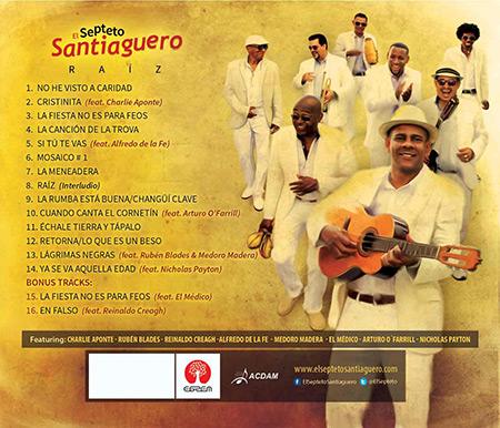 Contraportada del disco «Raíz» del Septeto Santiaguero.