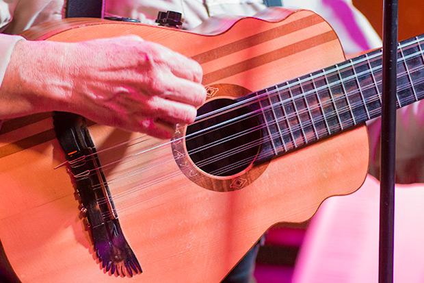 El ajayu consta de 12 cuerdas metálicas e intenta aunar características de distintos cordófonos latinoamericanos como el charango, el guitarrón chileno, el bandolín ecuatoriano o el tiple colombiano. © Xavier Pintanel