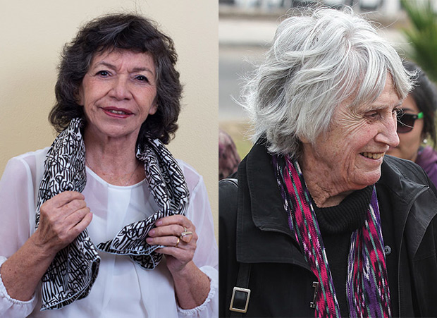 Isabel Parra a la izquierda y Joan Jara —Presidenta de la Fundación Víctor Jara— a la derecha.