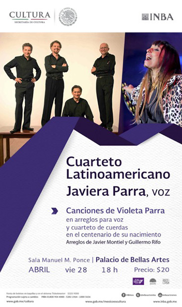 Javiera Parra y el Cuarteto Latinoamericano en el Bellas Artes de México.
