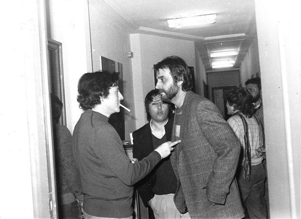 Fernando G. Lucini con Luis Eduardo Aute en la inauguración de la Asociación para la Música Popular en 1983.