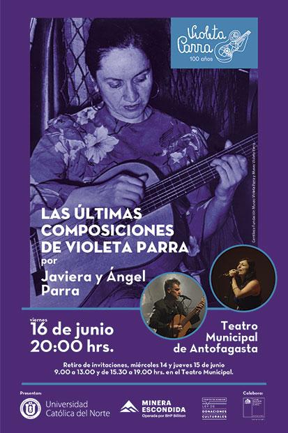 Ángel y Javiera Parra presentarán «Las Últimas Composiciones de Violeta Parra» en Antofagasta.