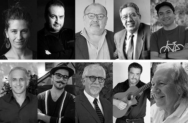 Directiva para el periodo 2017-2019 de la Sociedad Chilena de Autores e Intérpretes Musicales (SCD). Horacio Salinas en el centro.