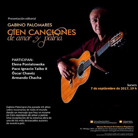 Gabino Palomares recopila en un libro «Cien canciones de amor y patria».