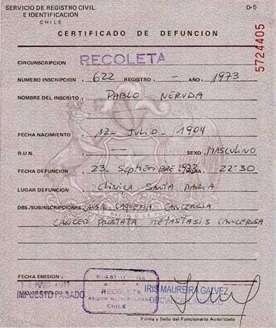 Certificado de defunción de Pablo Neruda.