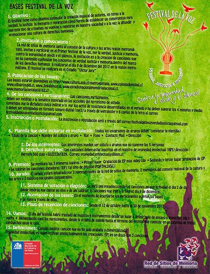 Primer Festival de la Voz: «Verdad, Justicia y Memoria. Contra la impunidad, el olvido y el silencio».