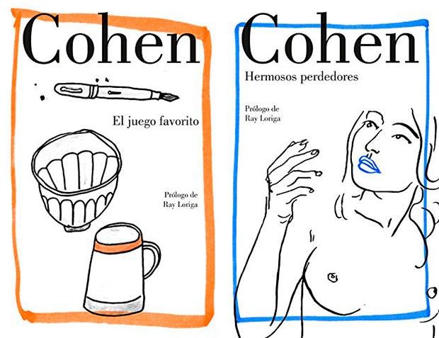 Portada de los libros «El juego favorito» y «Hermosos perdedores» de Leonard Cohen.