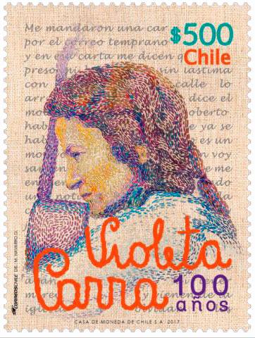 Sello de Violeta Parra.