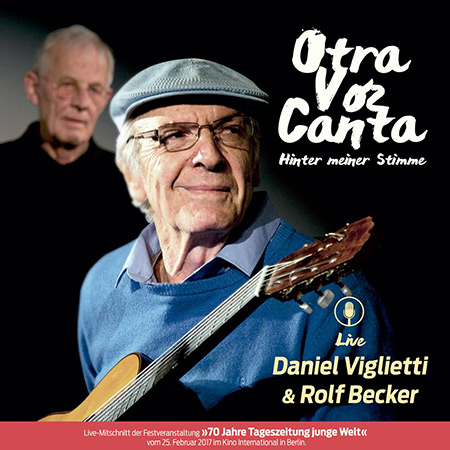Portada del disco «Otra voz canta/Hinter meiner Stimme» de Daniel Viglietti y Rolf Becker.