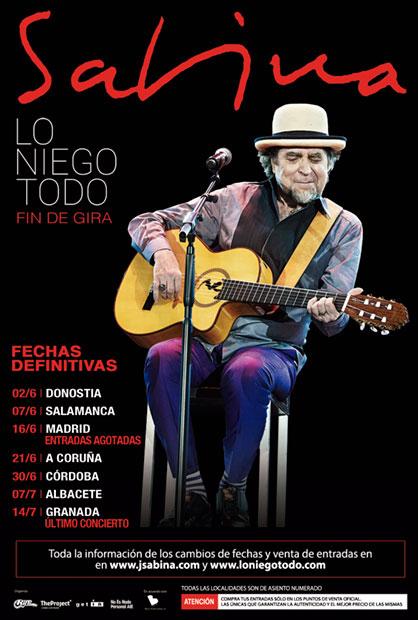Sabina retomará su gira en Donostia el próximo 2 de junio.