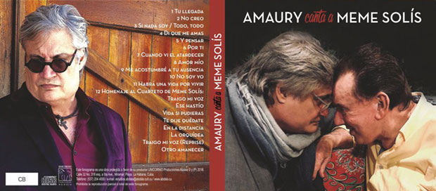 Portada y contraportada del disco «Amaury canta a Meme Solís» de Amaury Pérez.