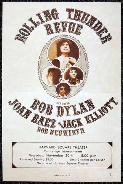 Afiche de la gira «Rolling Thunder Revue» de Bob Dylan.
