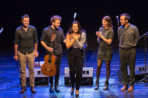 De izquierda a derecha: Ángel Pérez Cantero, Jesús Guerrero, Alba Carmona, Karen Brewer y Juan Rodríguez Berbín. © Xavier Pintanel