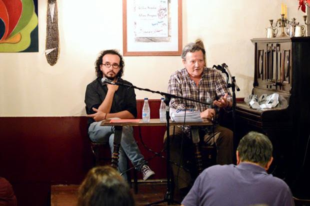 Juan Trova y Fernando González Lucini en la presentación del Centro Lucini de la Canción de Autor en la sala Libertad 8 de Madrid. © Inés Poveda