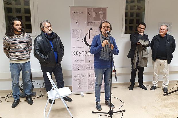 Inauguración del Centro Lucini de la Canción de Autor. De izquierda a derecha: Juan Garzón, Antonio Fernández Ferrer, Juan Trova, Antonio Álvarez y Enrique Moratalla. © Xavier Pintanel