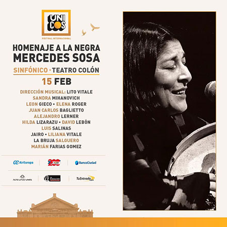 Mercedes Sosa tuvo su homenaje en el Colón durante el Festival Únicos.