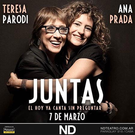 Cartel del espectáculo «Juntas» de Teresa Parodi y Ana Prada.