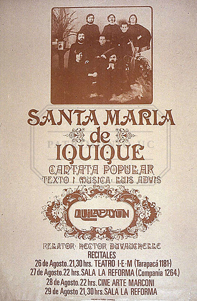 Programa de mano del estreno de la Cantata Santa María de Iquique.