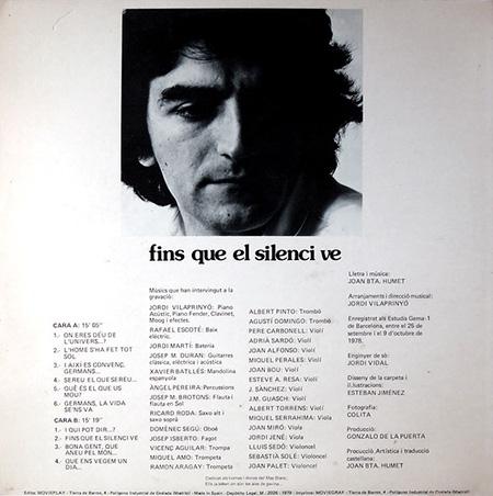 Contraportada del disco «Fins que el silenci ve» de Joan Baptista Humet.