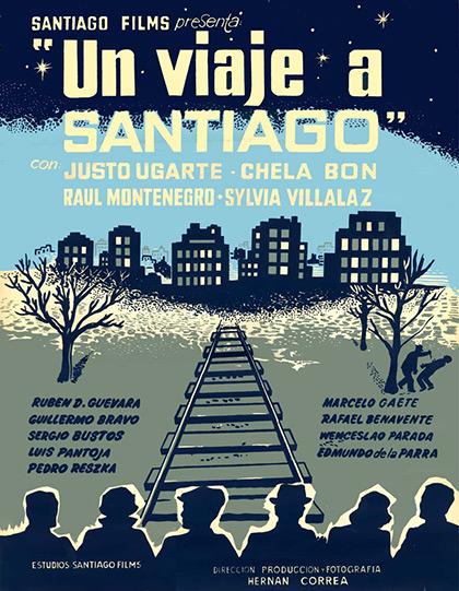 Afiche de la película «Un viaje a Santiago» (1960).