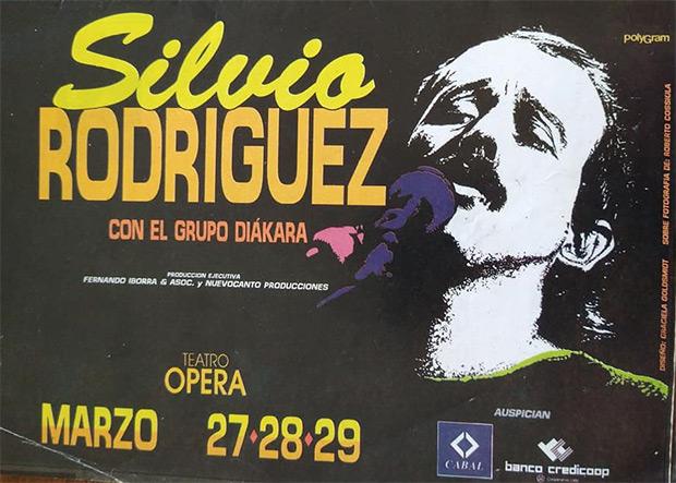Afiche del concierto de Silvio Rodríguez con Diákara en Buenos Aires (Argentina, marzo de 1992). © Archivo Alberto Montoya Alonso