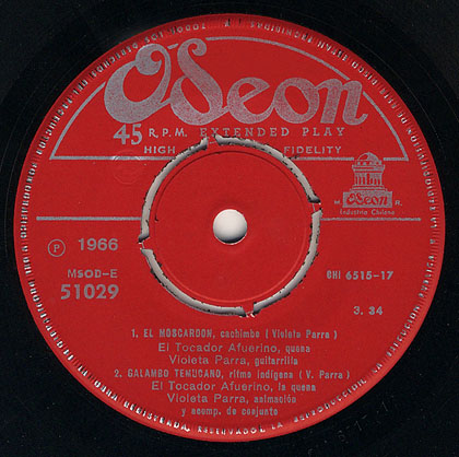 EMI-Odeón MSOD/E-51029 (EP) (Violeta Parra – Gilbert Favre)